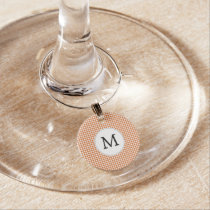 Personalized Monogram Orange Houndstooth Pattern Wine Glass Charm
