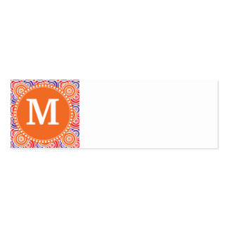 Personalized Monogram Orange Purple Circle Pattern Double-Sided Mini Business Cards (Pack Of 20)