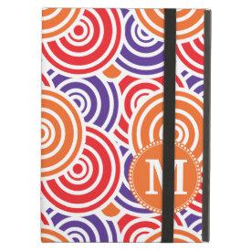 Personalized Monogram Orange Purple Circle Pattern iPad Cover