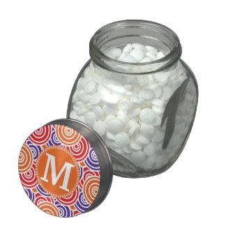 Personalized Monogram Orange Purple Circle Pattern Jelly Belly Candy Jars