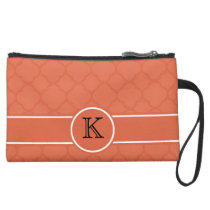 Personalized Monogram Orange Quatrefoil Pattern Suede Wristlet Wallet