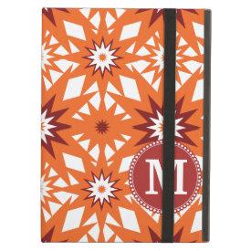 Personalized Monogram Orange Red Stars Pattern iPad Cover