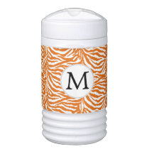 Personalized Monogram Orange Zebra Stripes Cooler