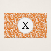 Personalized Monogram Orange Zebra Stripes pattern Business Card