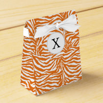 Personalized Monogram Orange Zebra Stripes pattern Favor Box