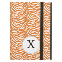 Personalized Monogram Orange Zebra Stripes pattern iPad Air Covers