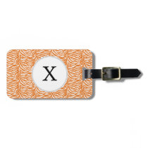 Personalized Monogram Orange Zebra Stripes pattern Luggage Tag