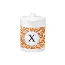 Personalized Monogram Orange Zebra Stripes pattern Teapot
