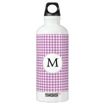 Personalized Monogram Orchid Houndstooth Pattern Aluminum Water Bottle