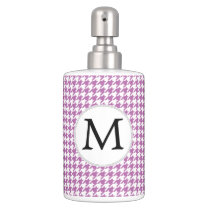 Personalized Monogram Orchid Houndstooth Pattern Bath Set