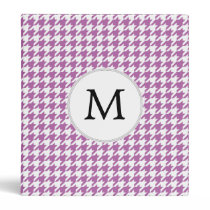 Personalized Monogram Orchid Houndstooth Pattern Binder