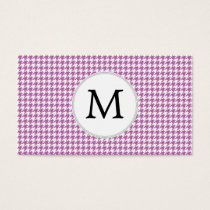 Personalized Monogram Orchid Houndstooth Pattern Business Card