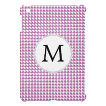 Personalized Monogram Orchid Houndstooth Pattern Case For The iPad Mini