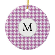 Personalized Monogram Orchid Houndstooth Pattern Ceramic Ornament