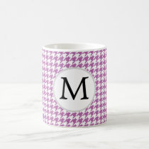 Personalized Monogram Orchid Houndstooth Pattern Coffee Mug