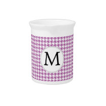 Personalized Monogram Orchid Houndstooth Pattern Drink Pitcher