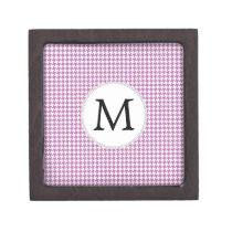 Personalized Monogram Orchid Houndstooth Pattern Gift Box
