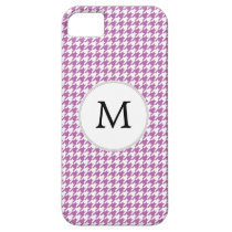 Personalized Monogram Orchid Houndstooth Pattern iPhone SE/5/5s Case