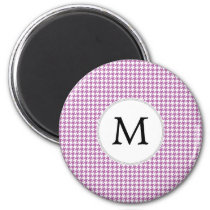 Personalized Monogram Orchid Houndstooth Pattern Magnet