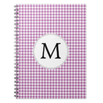 Personalized Monogram Orchid Houndstooth Pattern Notebook