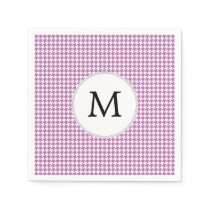 Personalized Monogram Orchid Houndstooth Pattern Paper Napkin