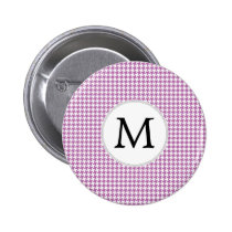 Personalized Monogram Orchid Houndstooth Pattern Pinback Button