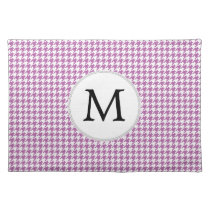 Personalized Monogram Orchid Houndstooth Pattern Placemat