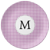 Personalized Monogram Orchid Houndstooth Pattern Plate