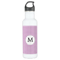 Personalized Monogram Orchid Houndstooth Pattern Stainless Steel Water Bottle