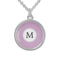 Personalized Monogram Orchid Houndstooth Pattern Sterling Silver Necklace