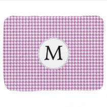 Personalized Monogram Orchid Houndstooth Pattern Swaddle Blanket