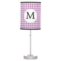 Personalized Monogram Orchid Houndstooth Pattern Table Lamp