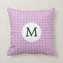 Personalized Monogram Orchid Houndstooth Pattern Throw Pillow