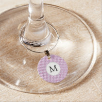 Personalized Monogram Orchid Houndstooth Pattern Wine Charm