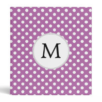 Personalized Monogram Orchid Polka Dots Pattern 3 Ring Binder