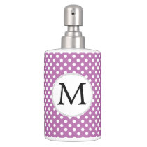 Personalized Monogram Orchid Polka Dots Pattern Bath Set