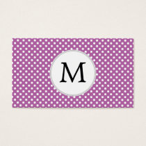 Personalized Monogram Orchid Polka Dots Pattern Business Card