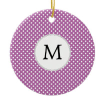 Personalized Monogram Orchid Polka Dots Pattern Ceramic Ornament
