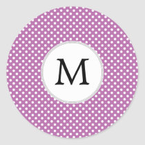 Personalized Monogram Orchid Polka Dots Pattern Classic Round Sticker