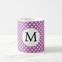 Personalized Monogram Orchid Polka Dots Pattern Coffee Mug