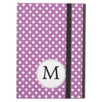 Personalized Monogram Orchid Polka Dots Pattern Cover For iPad Air