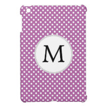 Personalized Monogram Orchid Polka Dots Pattern Cover For The iPad Mini