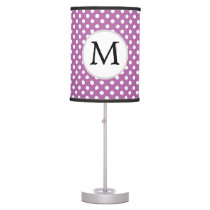 Personalized Monogram Orchid Polka Dots Pattern Desk Lamp