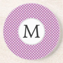 Personalized Monogram Orchid Polka Dots Pattern Drink Coaster
