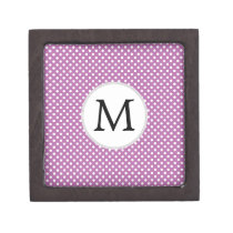 Personalized Monogram Orchid Polka Dots Pattern Gift Box