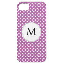 Personalized Monogram Orchid Polka Dots Pattern iPhone SE/5/5s Case