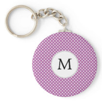 Personalized Monogram Orchid Polka Dots Pattern Keychain