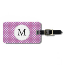 Personalized Monogram Orchid Polka Dots Pattern Luggage Tag