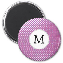 Personalized Monogram Orchid Polka Dots Pattern Magnet