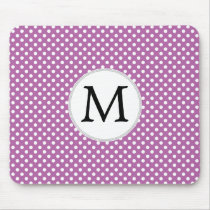 Personalized Monogram Orchid Polka Dots Pattern Mouse Pad